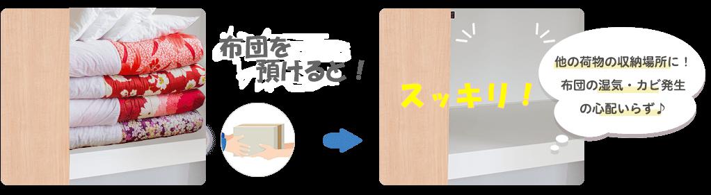 カジタク 布団保管サービスで収納スぺース有効活用