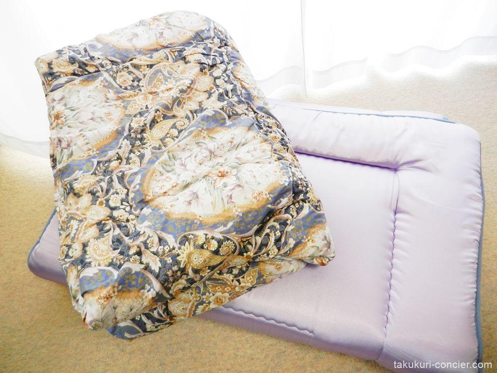 「羊毛とポリエステル混合の敷き布団」と「綿の掛け布団」