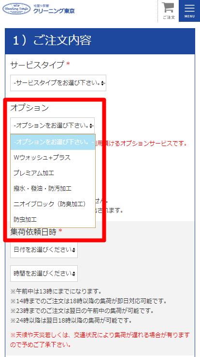 クリーニング東京の注文方法 「オプション」選択