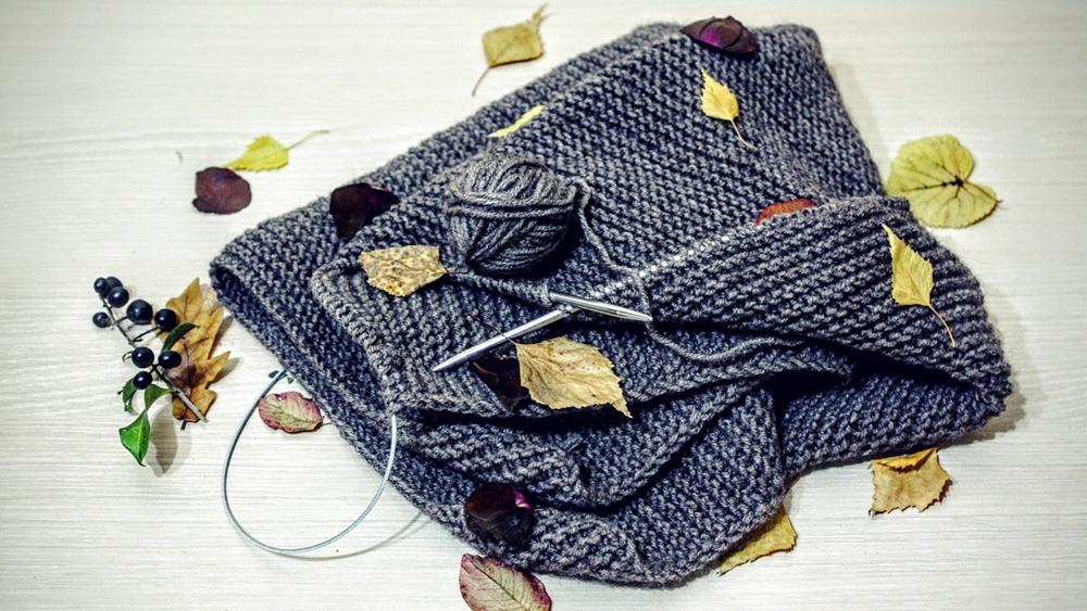 ニット グレー 手編み