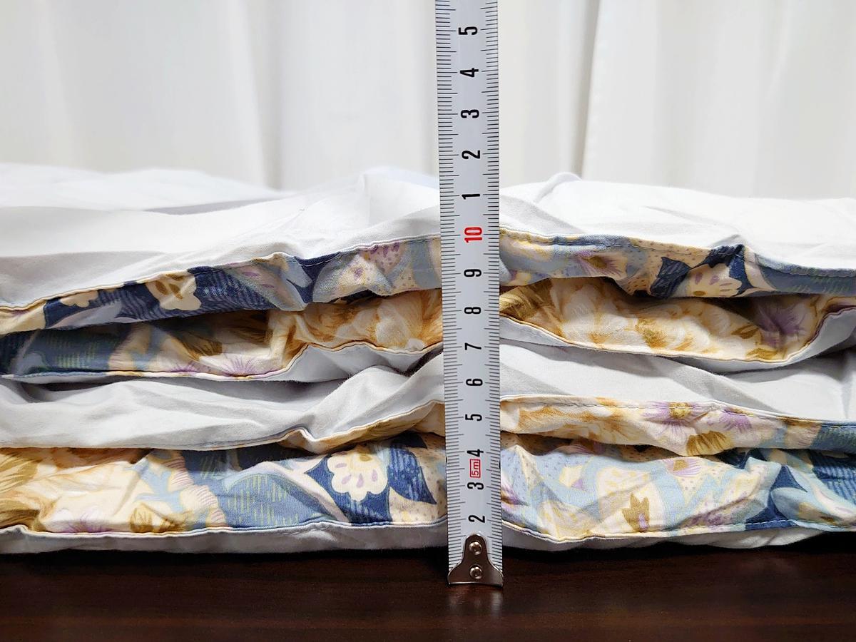 クリーニングモンスター 布団の宅配クリーニング クリーニング後 掛け布団 仕上がり具合 布団の厚み